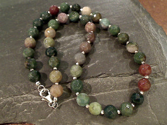 "16"" Jasper, Sterling Silver Necklace"