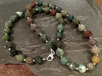 "18"" Jasper, Sterling Silver Necklace"