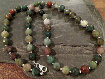 "20"" Jasper, Sterling Silver Necklace"