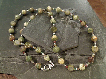 "18"" Rhyolite Jasper, Sterling Silver Necklace"