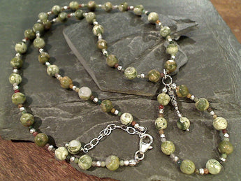 "18""-20"" Rhyolite Jasper, Sterling Silver Necklace"
