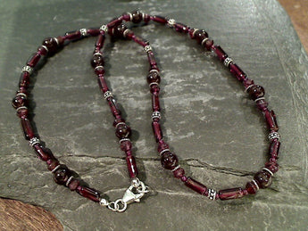 "18"" Garnet, Sterling Silver Necklace"