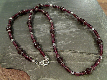 "19"" Garnet, Sterling Silver Necklace"