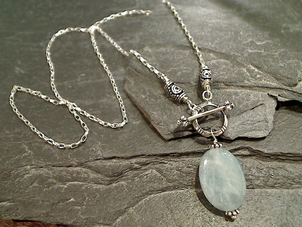 "20"" Aquamarine, Sterling Silver Toggle Necklace"