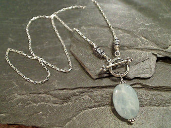 "16"" Aquamarine, Sterling Silver Toggle Necklace"