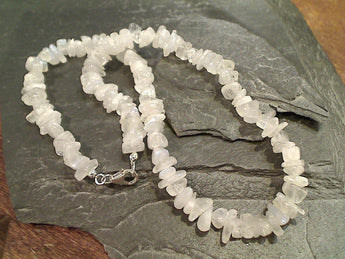 "16"" Moonstone, Sterling Silver Necklace"