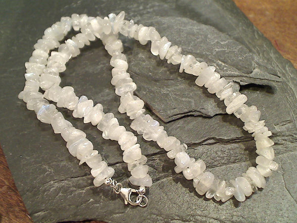"19.5"" Moonstone, Sterling Silver Necklace"