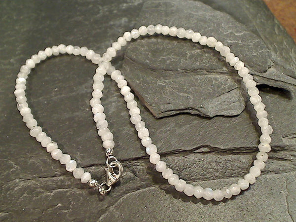 "14"" Moonstone, Sterling Silver Necklace"