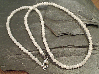 "18"" Moonstone, Sterling Silver Necklace"
