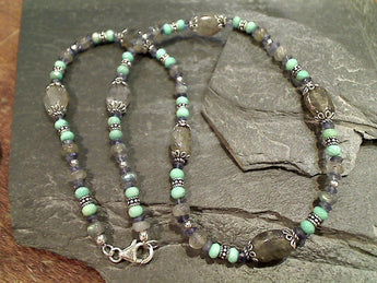 "17"" Labradorite, Iolite, Chrysoprase Necklace"