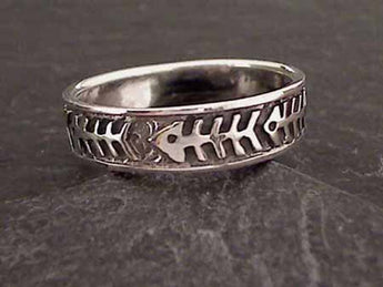 Size 11 Sterling Silver Fishbone Ring