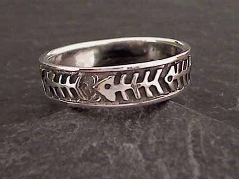 Size 12.75 Sterling Silver Fishbone Ring