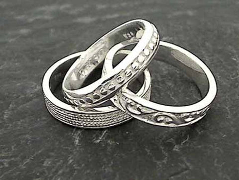 Size 6 Sterling Silver 3 Band Stacker Ring