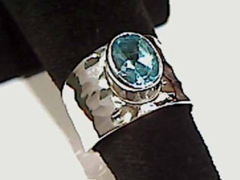 Blue Topaz, Sterling Silver Ring - Size 6