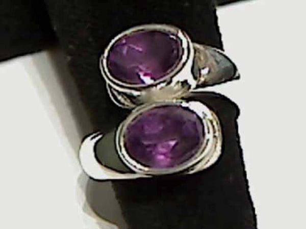 Amethyst, Sterling Silver Ring - Up to Size 8