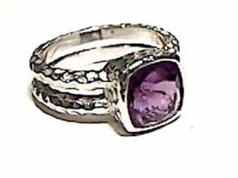 SIZE 8 AMETHYST AND .925 RING