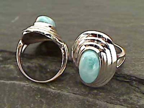 Larimar, Sterling Silver Ring, Size 6.25