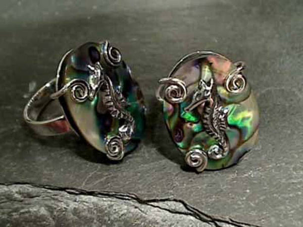 Abalone, Sterling Silver Ring - Size 7