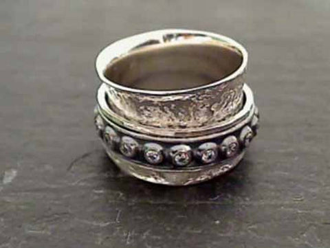Size 9 Sterling Silver, CZ Spinner Ring