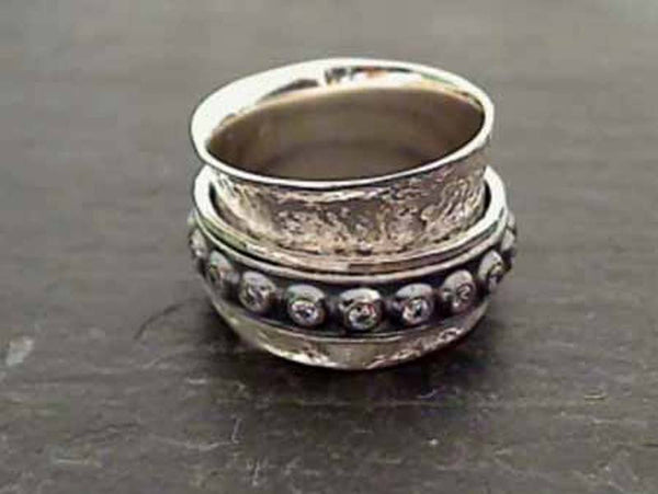 Size 8 Sterling Silver, CZ Spinner Ring