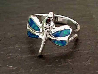 Size 10 Created Opal, Sterling Silver Ring