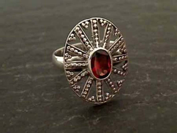 Garnet, Sterling Silver Ring, Size 7