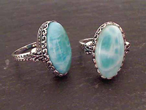 Larimar, Sterling Silver Ring, Size 9.5