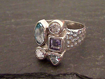 Size 6.5 Blue Topaz, CZ, Iolite, Sterling Ring