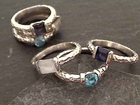 Size 6 Moonstone, Topaz, Iolite, .925 Stacker Ring
