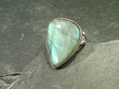 Size 8.5 Labradorite, Sterling Silver Ring