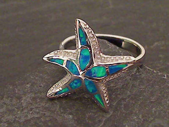 Size 5.75 Created Opal, Sterling Silver Ring