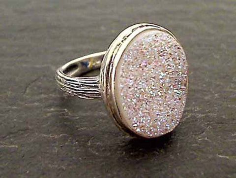 Size 6 Druzy Quartz, Sterling Silver Ring