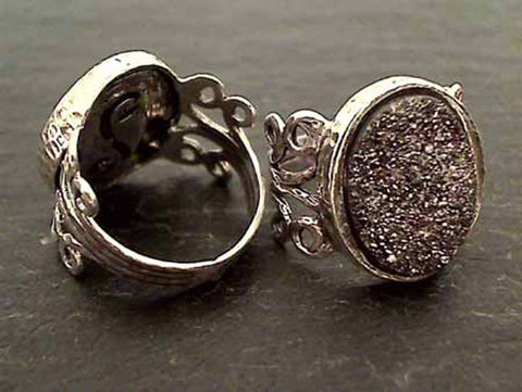 Size 10.5 Druzy Quartz, Sterling Silver Ring