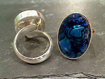 Blue Abalone, Fine Sterling Adj. Size Ring