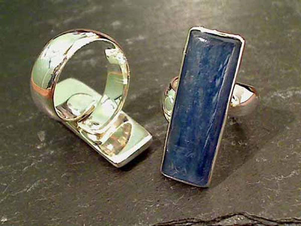 Kyanite, .950 Fine Sterling Ring, Adj. Size
