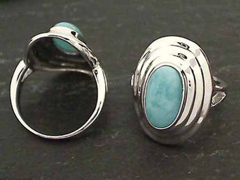 Larimar, Sterling Silver Ring, Size 8.5