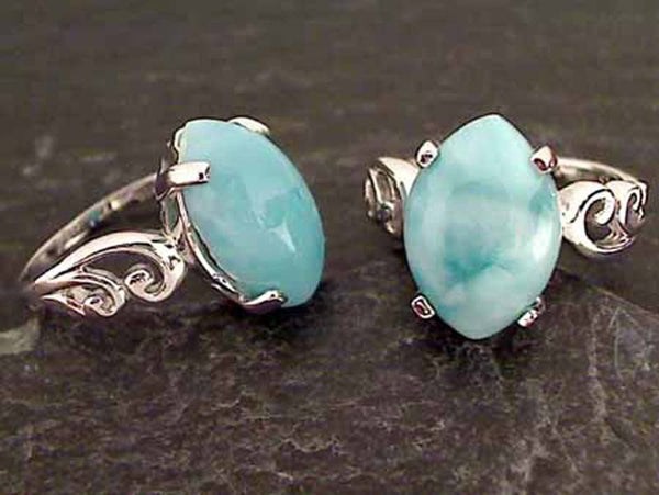 Larimar, Sterling Silver Ring, Size 8