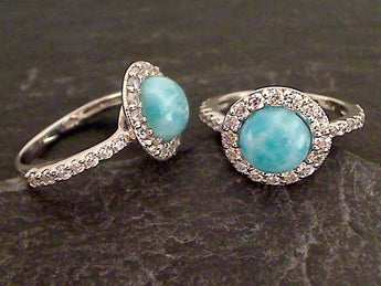 Larimar, CZ, Sterling Silver Ring, Size 12