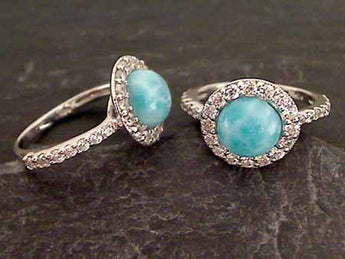 Larimar, CZ, Sterling Silver Ring, Size 10