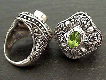 Size 6.5 Peridot, Sterling Silver Ring