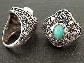 Size 6.5 Amazonite, Sterling Silver Ring