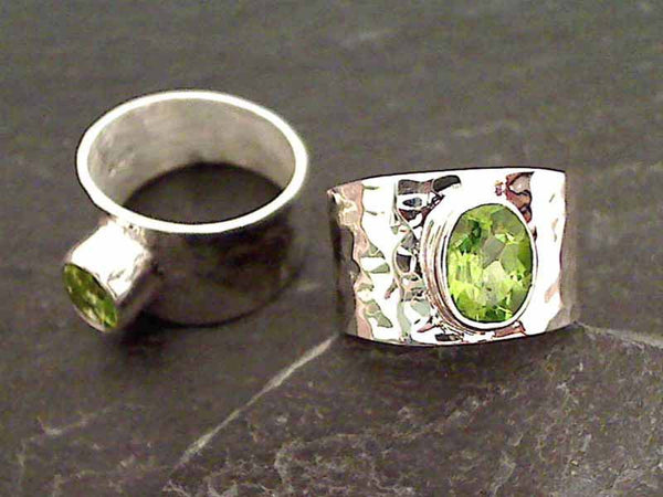 Peridot, Sterling Silver Ring - Size 10.5