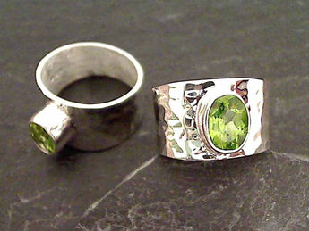 Peridot, Sterling Silver Ring - Size 9.5