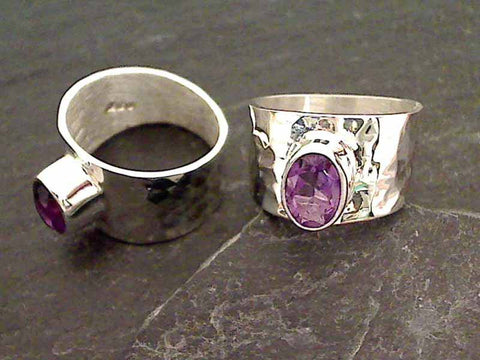 Size 8.75 Amethyst, Sterling Silver Ring