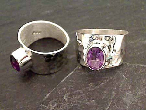Amethyst, Sterling Silver Ring - Size 6.75