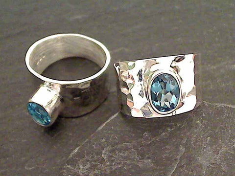 Blue Topaz, Sterling Silver Ring, Size 10.5