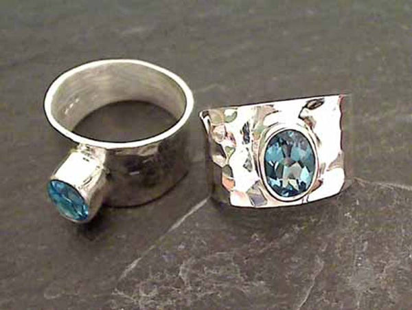 Blue Topaz, Sterling Silver Ring, Size 7.75