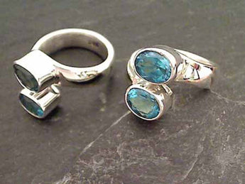 Blue Topaz, Sterling Silver Ring, Sz 6.5 - 8