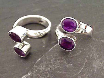 Amethyst, Sterling Silver Ring, Sz 7.5 - 9