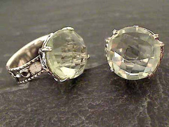 Size 7 Green Amethyst, Sterling Silver Ring